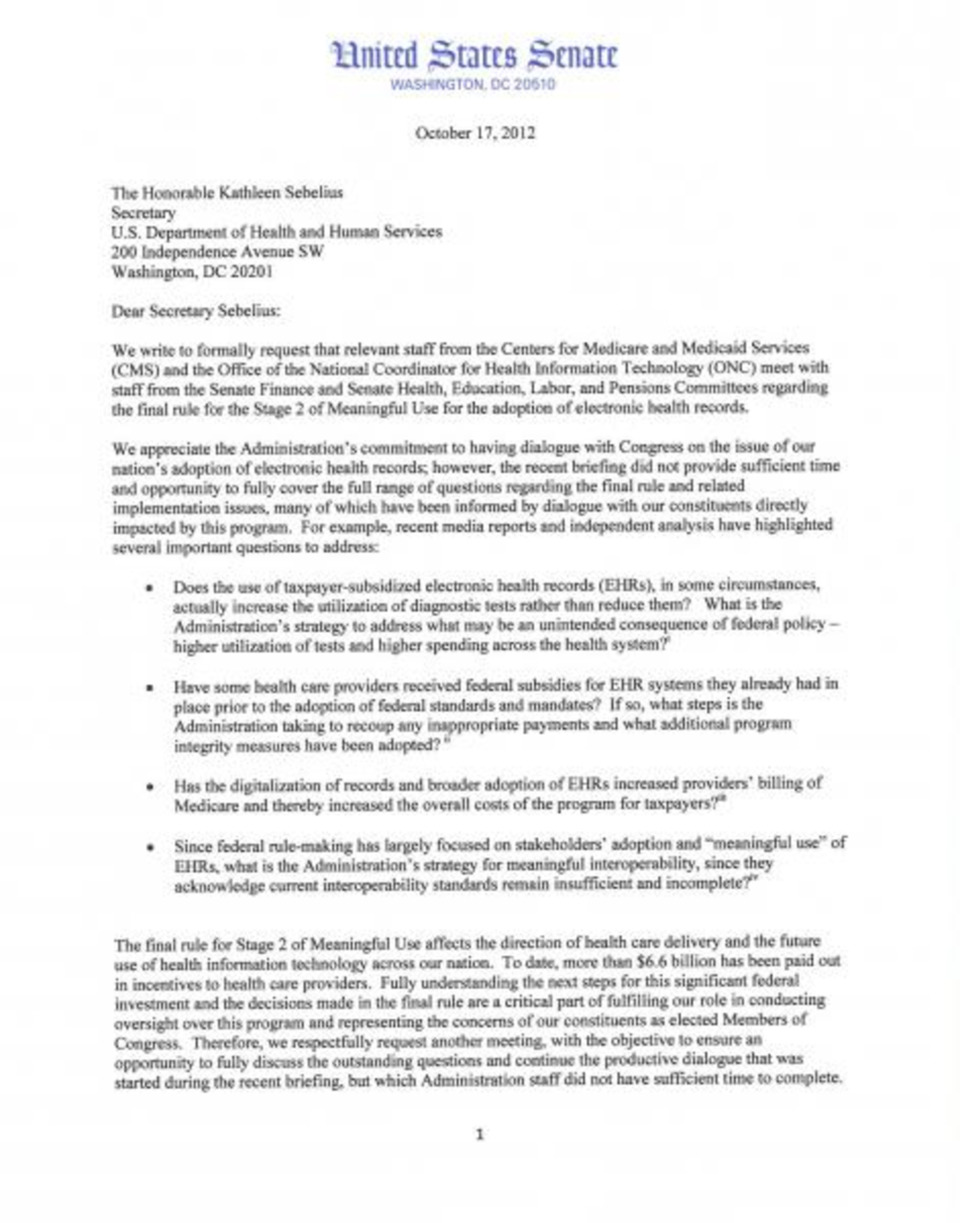 Senate Republicans Send Letter to Sebelius with Concerns